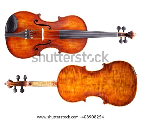 Top and bottom view of a violin. Isolated on white - stock photo