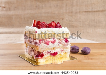 Top Angle View Strawberry Cake Slice rectangle shape on wooden background