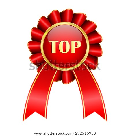 TOP badge. Emblem with red ribbon and golden frame .Isolated on white background. Raster version - stock photo