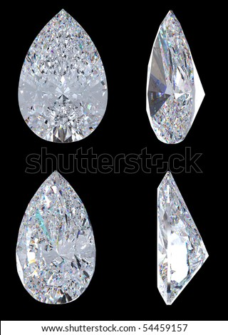 Top, bottom and side views of pear diamond. Over black, Extralarge resolution. - stock photo