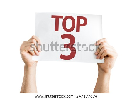 Top 3 card isolated on white background - stock photo