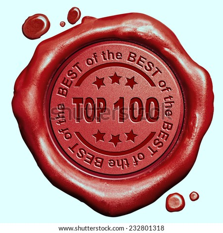 top 10 chart ranking or winners result red wax seal stamp - stock photo