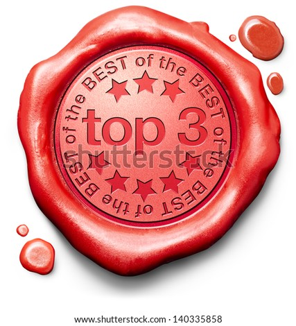 top 3 charts list pop poll result and award winners chart ranking music hits best top quality rating prize winner icon red wax seal stamp