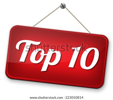 top 10 charts list pop poll result  and award winners chart ranking music hits best top ten quality rating prize winner    - stock photo