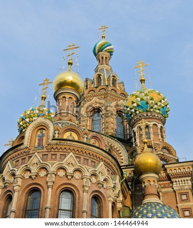 Top church of onion domes. Church of the Savior on Spilled Blood in St. Petersburg, Russia
