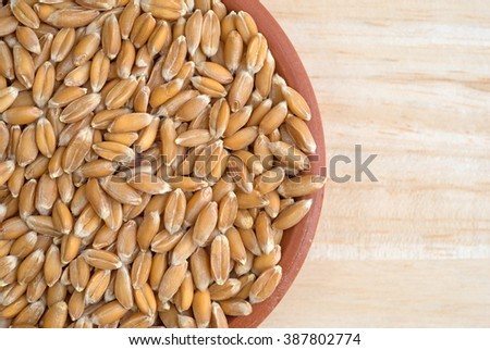 Top close view of a small bowl filled with organic whole grain spelt on a wood table top illuminated with natural light. - stock photo