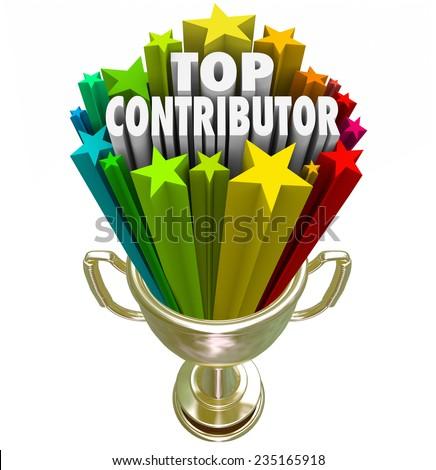 Top Contributor 3d words in a gold trophy to appreciate or recognize someone who has contributed, helped, assisted or vollunteered in a work project or fundraiser - stock photo