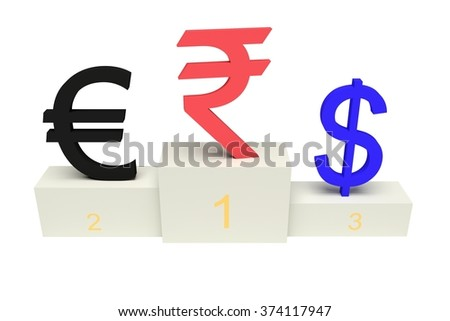 top currencies, strong Indian Rupee, with numbers, isolated