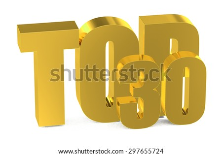 Top 30, 3d illustration isolated on white background - stock photo