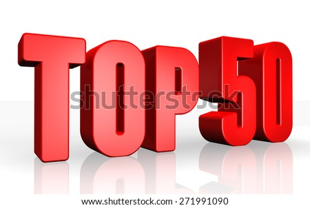 Top 50 - 3d illustration on white background - stock photo