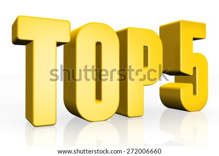 Top 5 - 3d illustration on white background - stock photo