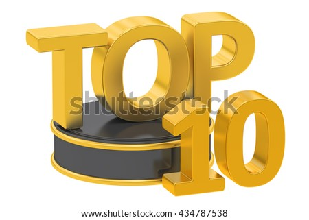 Top 10, 3D rendering isolated on white background - stock photo