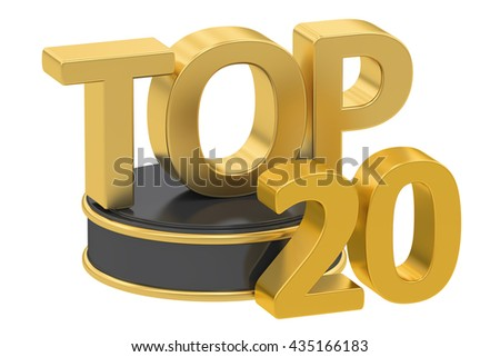 Top 20, 3D rendering isolated on white background
