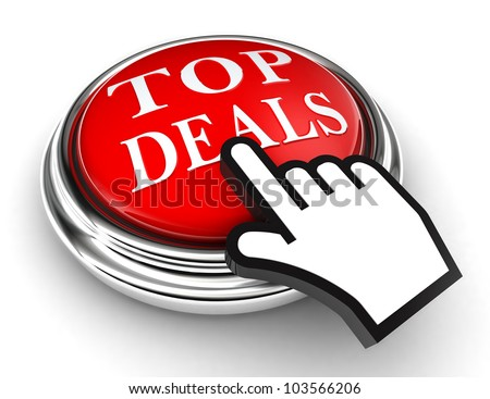 top deals red button and cursor hand on white background. clipping paths included