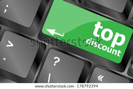 top discount concept sign on computer key - stock photo