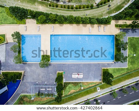 Rectangle Pool Aerial View top down aerial view rectangle swimming stock photo 427402864