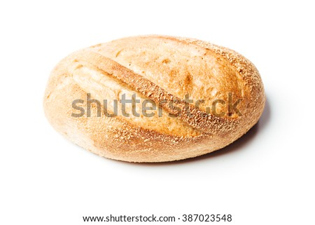 Top down view closeup on potato bread roll, isolated on white background. - stock photo
