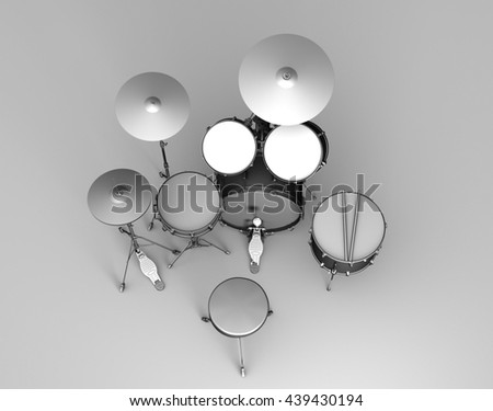 Top down view of a set of 3D rendered drums in grayscale style
