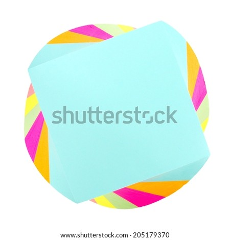 Top down view of a twirled note pad of sticky notes                 - stock photo