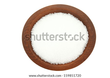 Top Down View Of Epsom Salt In Wooden Bowl Isolated On White Background - stock photo