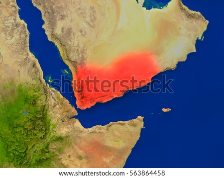 Top-down view of Yemen hightlighted in red as seen from Earth's orbit in space. 3D illustration with highly detailed realistic planet surface. Elements of this image furnished by NASA.