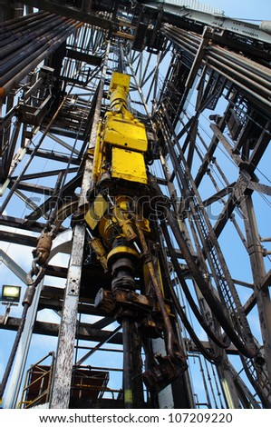 Top Drive System (TDS) for Oil Drilling Rig - Petroleum Industry - stock photo