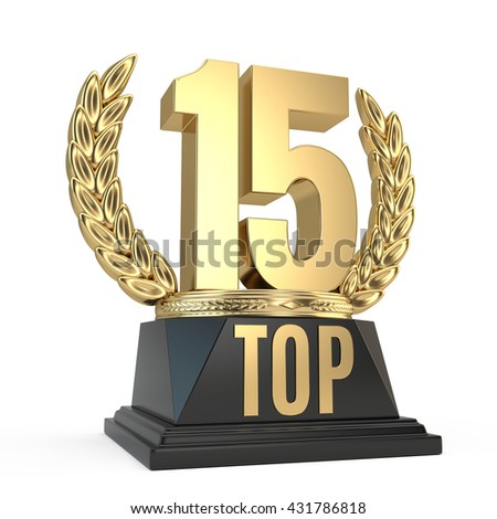 Top 15 fifteen award cup symbol isolated on white background. 3d render - stock photo