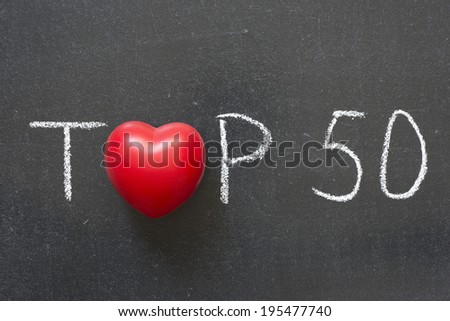 top fifty phrase handwritten on chalkboard with heart symbol instead of O