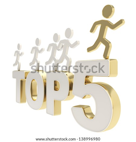 Top five leaders illustration: group of human symbolic figures running over the golden chrome metal Top-5 composition isolated on white background - stock photo