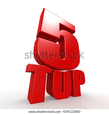 Top five word with white background, 3D rendering - stock photo