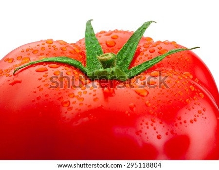 Top fresh tomato close-up and drops of water isolated on white background - stock photo