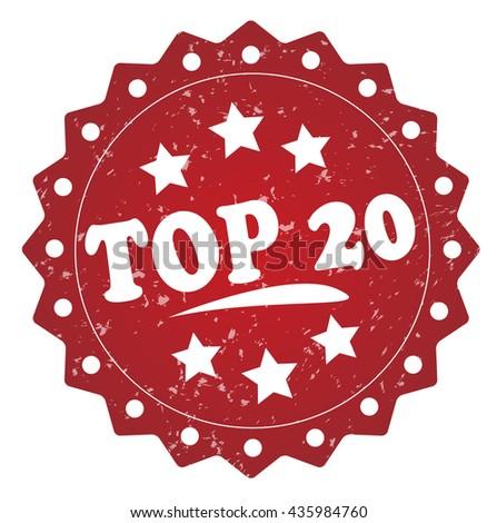 top 20 grunge stamp - stock photo