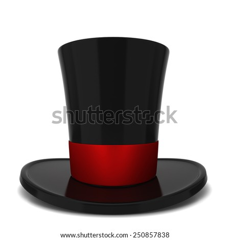 Top hat. 3d illustration isolated on white background  - stock photo