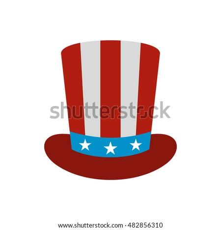 Top hat in the USA flag colors icon in flat style on a white background