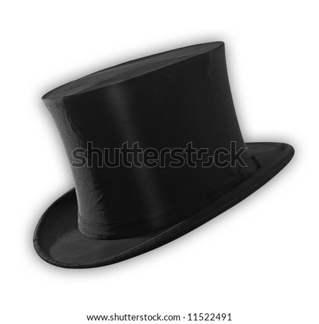Top hat isolated on white, path included - stock photo