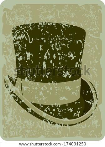 top hat-vintage background - stock photo