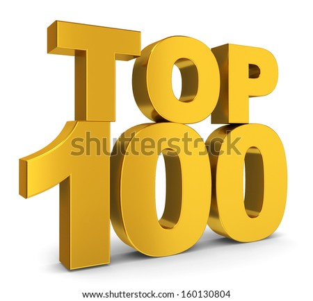 Top hundred. 3d illustration on white background  - stock photo