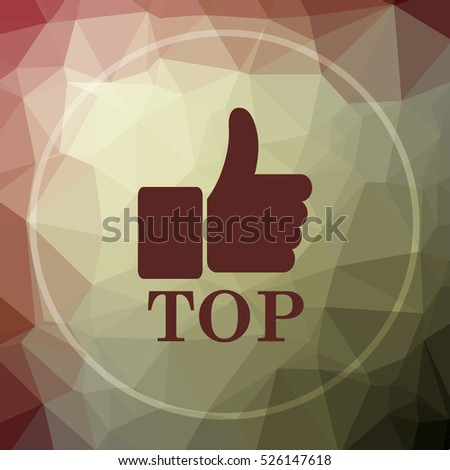 Top icon. Top website button on khaki low poly background.