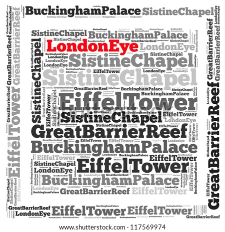 Top International Tourist Attractions London Eye info-text graphics and arrangement concept on white background (word cloud)