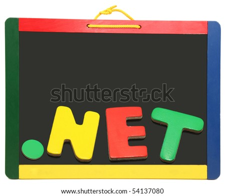 Top level domain Dot NET spelled out on chalkboard with wooden letters - stock photo