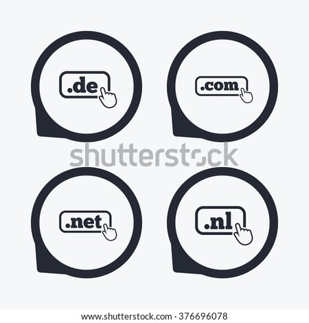 Top-level internet domain icons. De, Com, Net and Nl symbols with hand pointer. Unique national DNS names. Flat icon pointers. - stock photo