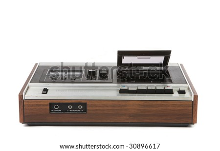 Top Low Angle View of Vintage Audio Cassette Player on White Background - stock photo