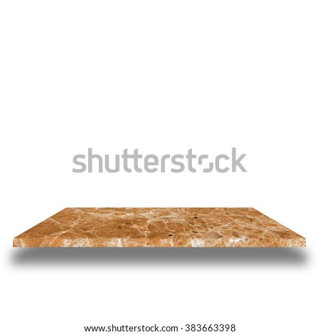 top marble shelves on white background