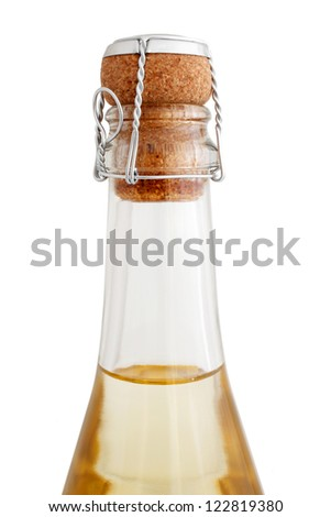 Top of a Champagne bottle isolated on a white background - stock photo