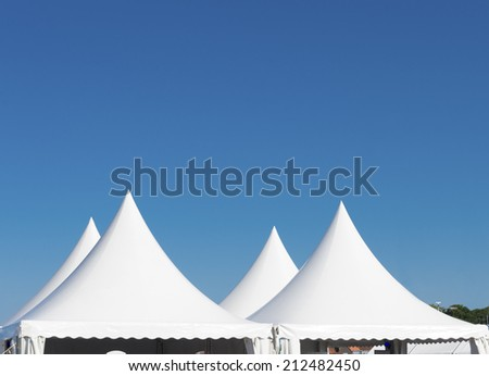 top of a white tent for large events - stock photo
