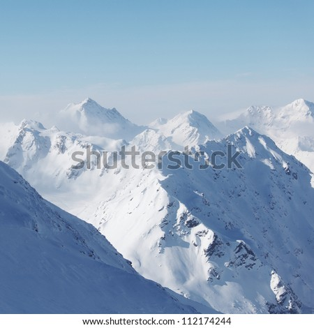 top of alps in sky - stock photo