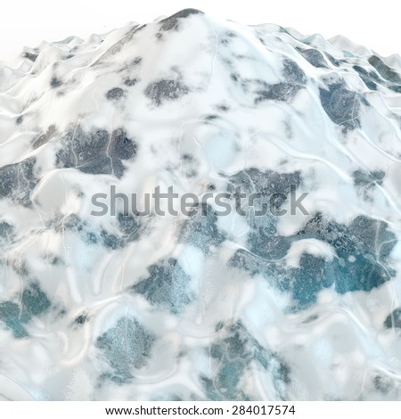 top of an abstract glacier with elements of blue ice and white snow cover - stock photo