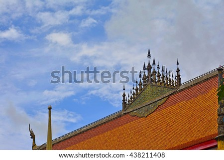 top of buddhist church in Luang Prabang, laos - stock photo
