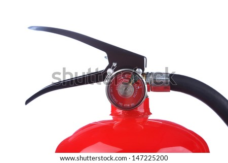 Top of chemical fire extinguisher. - stock photo