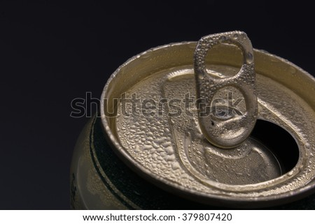Top of closed  can pull ring. - stock photo